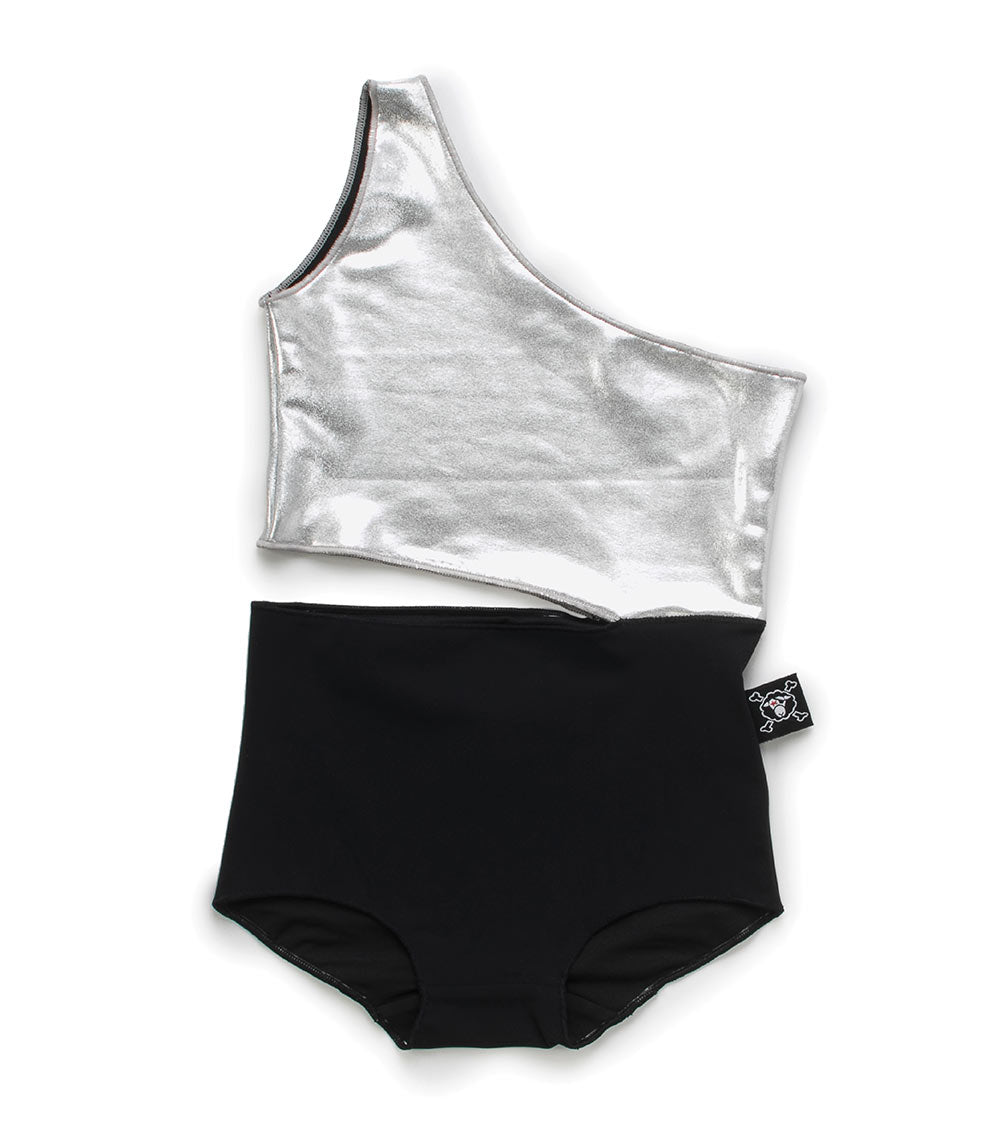 one strap swimsuit - black/silver
