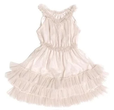 RUFFLED CHIFFON DANCE DRESS - WHITE