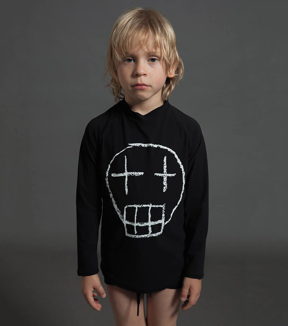 sketch skull long sleeved rashguard - black