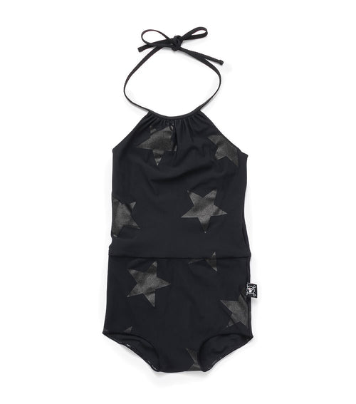 star collar swimsuit - black