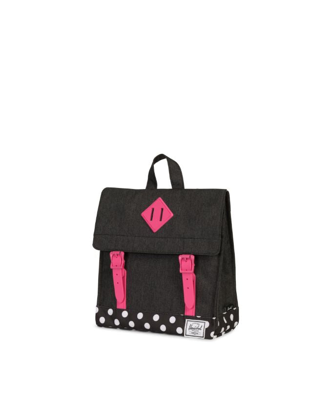 Survey Backpack Kids - Black Crosshatch Polka Dot Fandango Pink