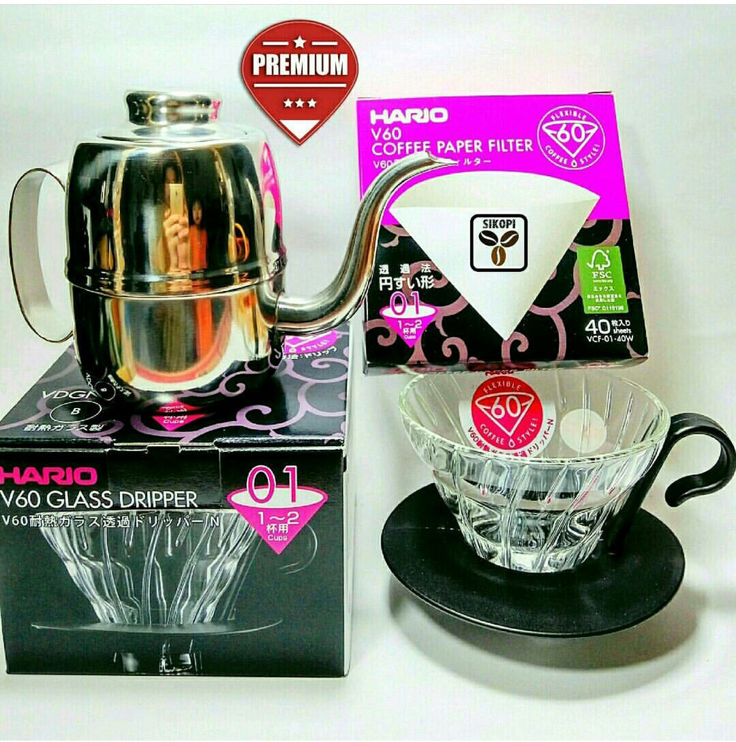 Paket Hario V60 Glass Dripper 01+ Paper Filter + Kettle Leher Angsa