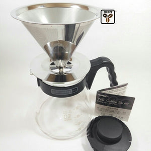 Paket Hario Coffee Server Size 02 + V60 Stainless Steel Dripper