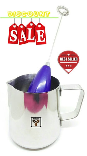 Paket Milk Jug 350ml + Electric Hand Frother