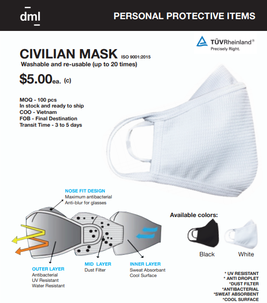 Civilian disposable mask $5.00 ( 100 pcs minimum)
