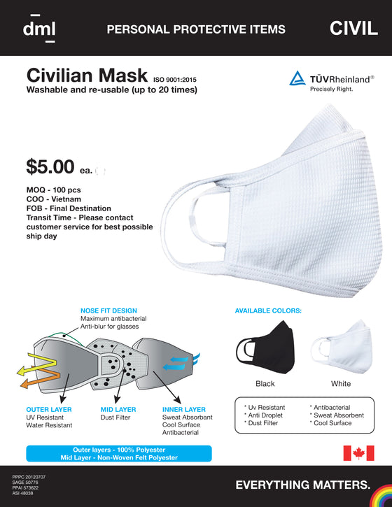 DML Civilian cloth mask with filter $4.50 each ( minimum 100)
