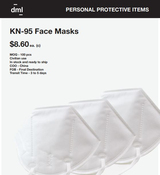 KN95 Mask in Low quantity $8.60 each ( 100 pcs minimum)