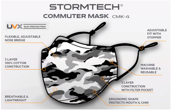 Stormtech CMK-4 Commuter Mask $9.99 each for Month of September on solid colours ( sold in 50 pack)