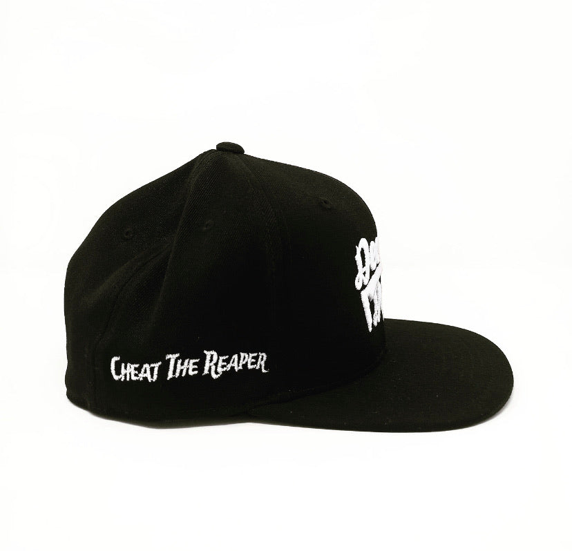 White on Black Stacked Snapback