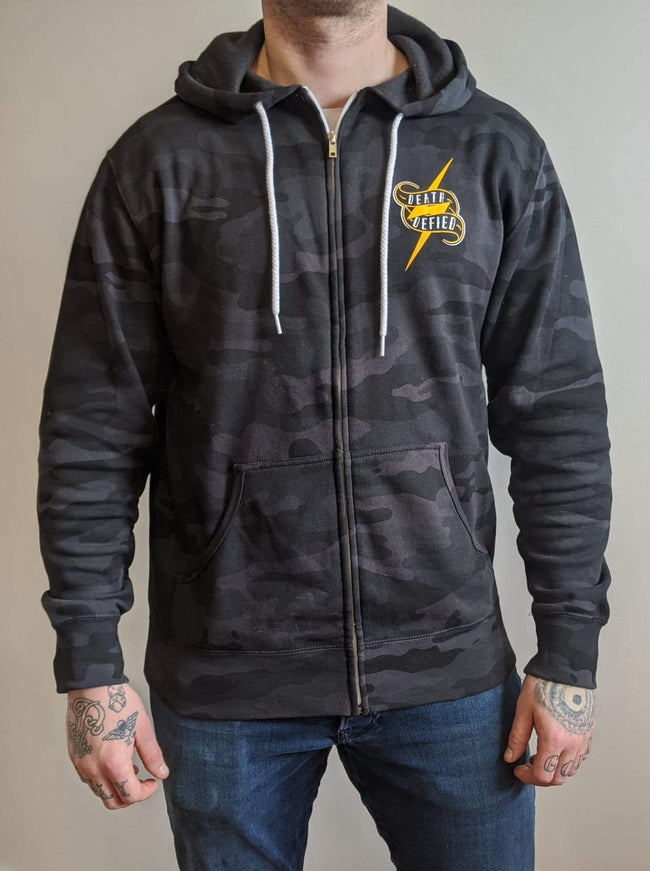 Smoke and mirrors black camo zip-up hoodie