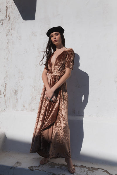 Paola Velvet Dress - Iced Brown - Poppyfield the Label