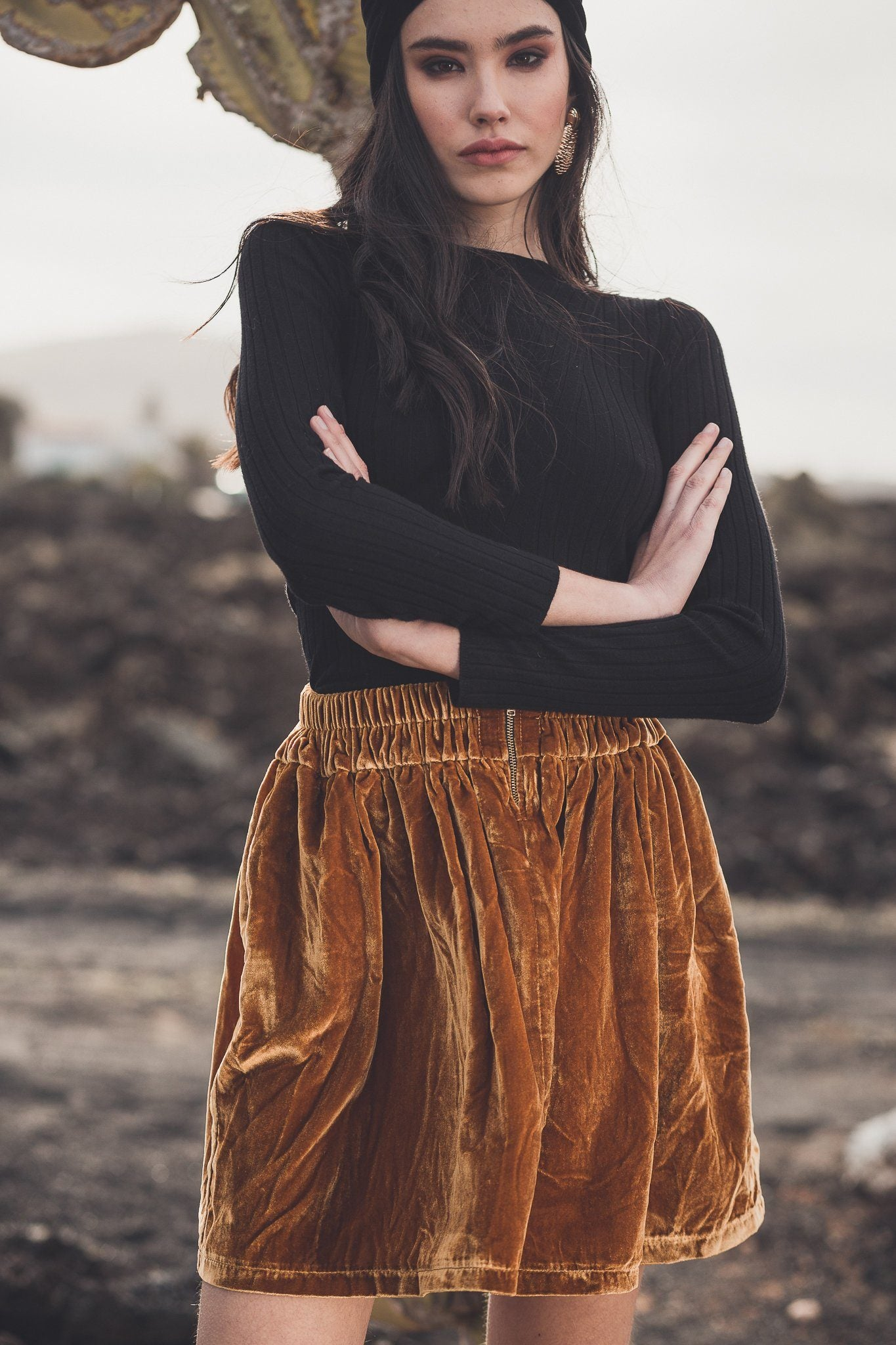 Tania Velvet Skirt - Gold - Poppyfield the Label