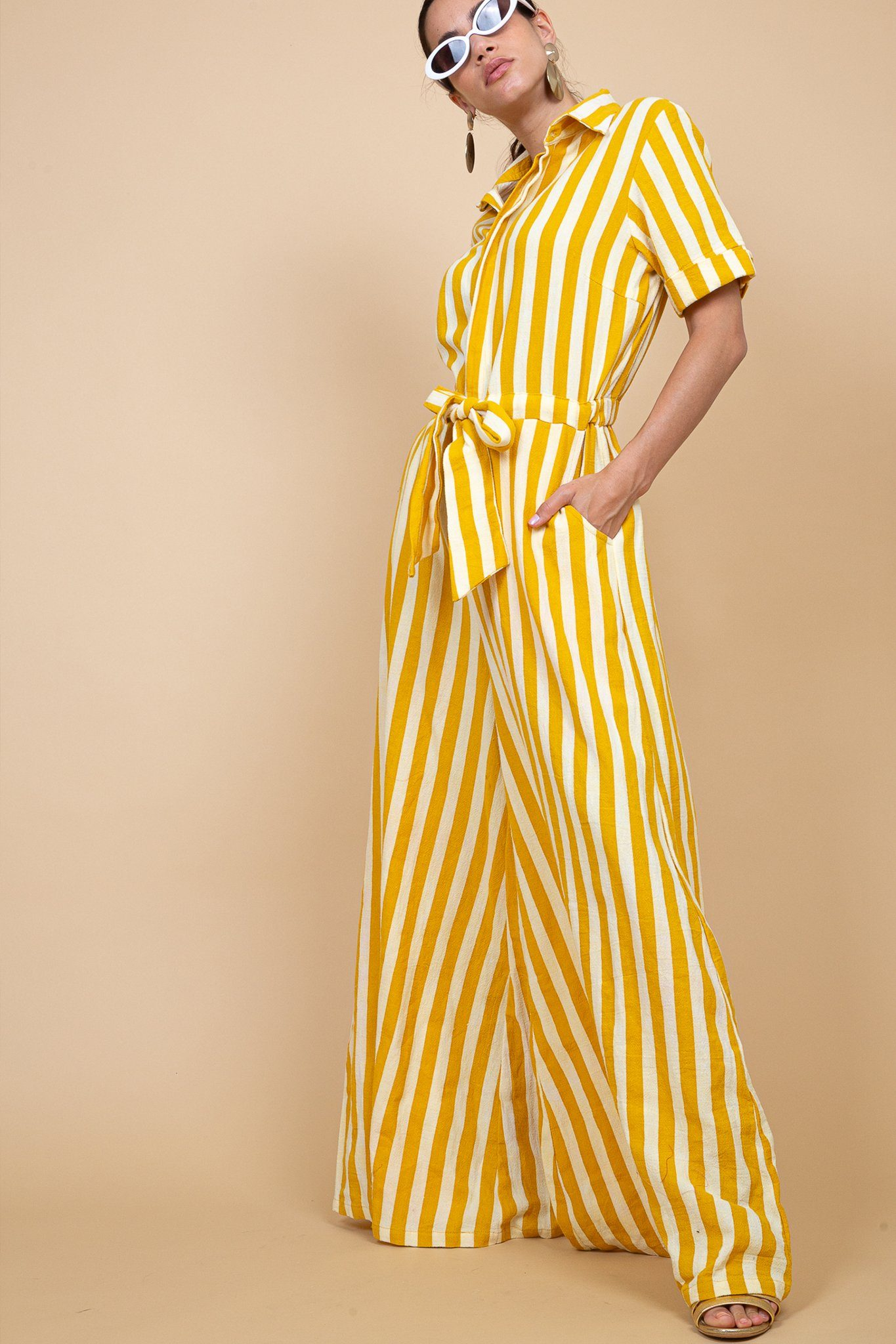 Mumbai Jumpsuit - Yellow Stripes - Poppyfield the Label
