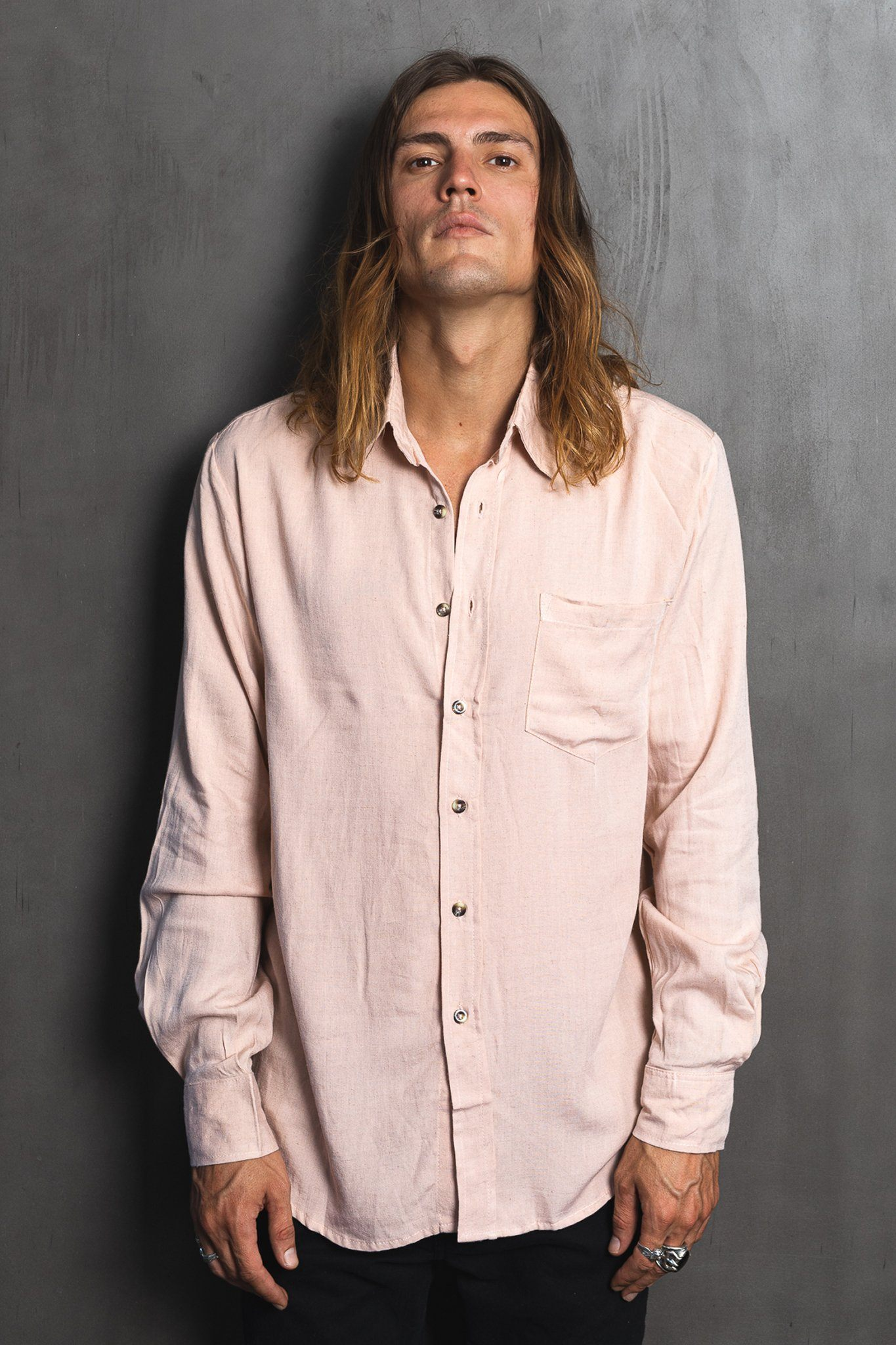 Kubu Long - Nude Linen Shirt - Poppyfield the Label