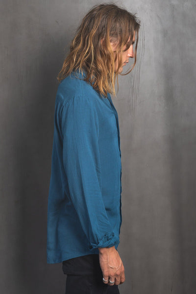 Kubu Long - Reflecting Blue Linen Shirt - Poppyfield the Label