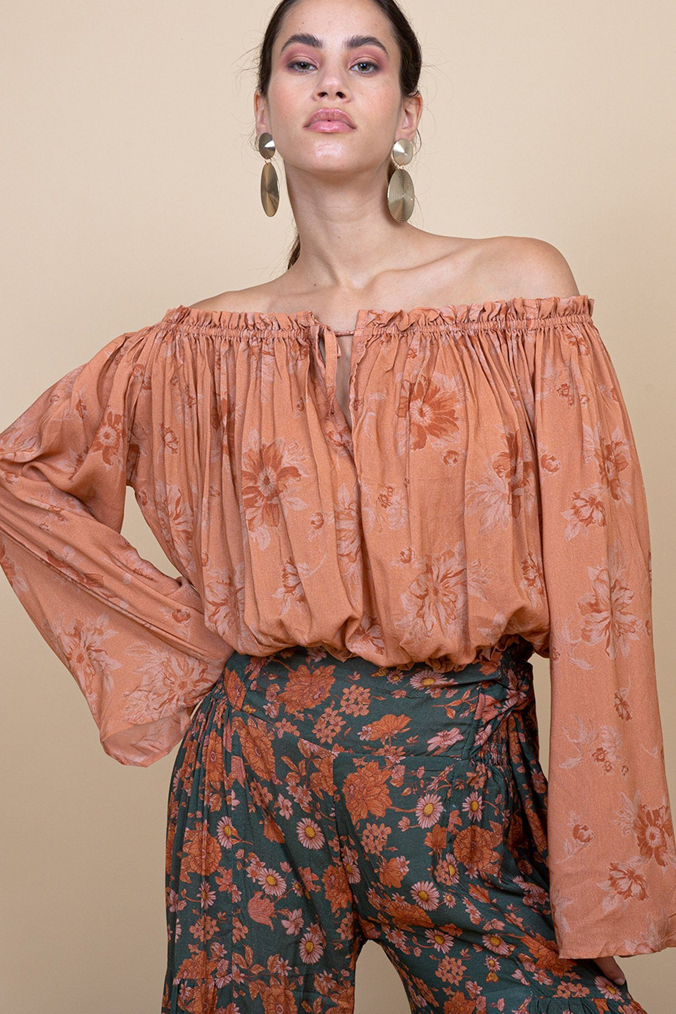 Jaisalmer Crop Top - Fadded Floral blush - Poppyfield the Label