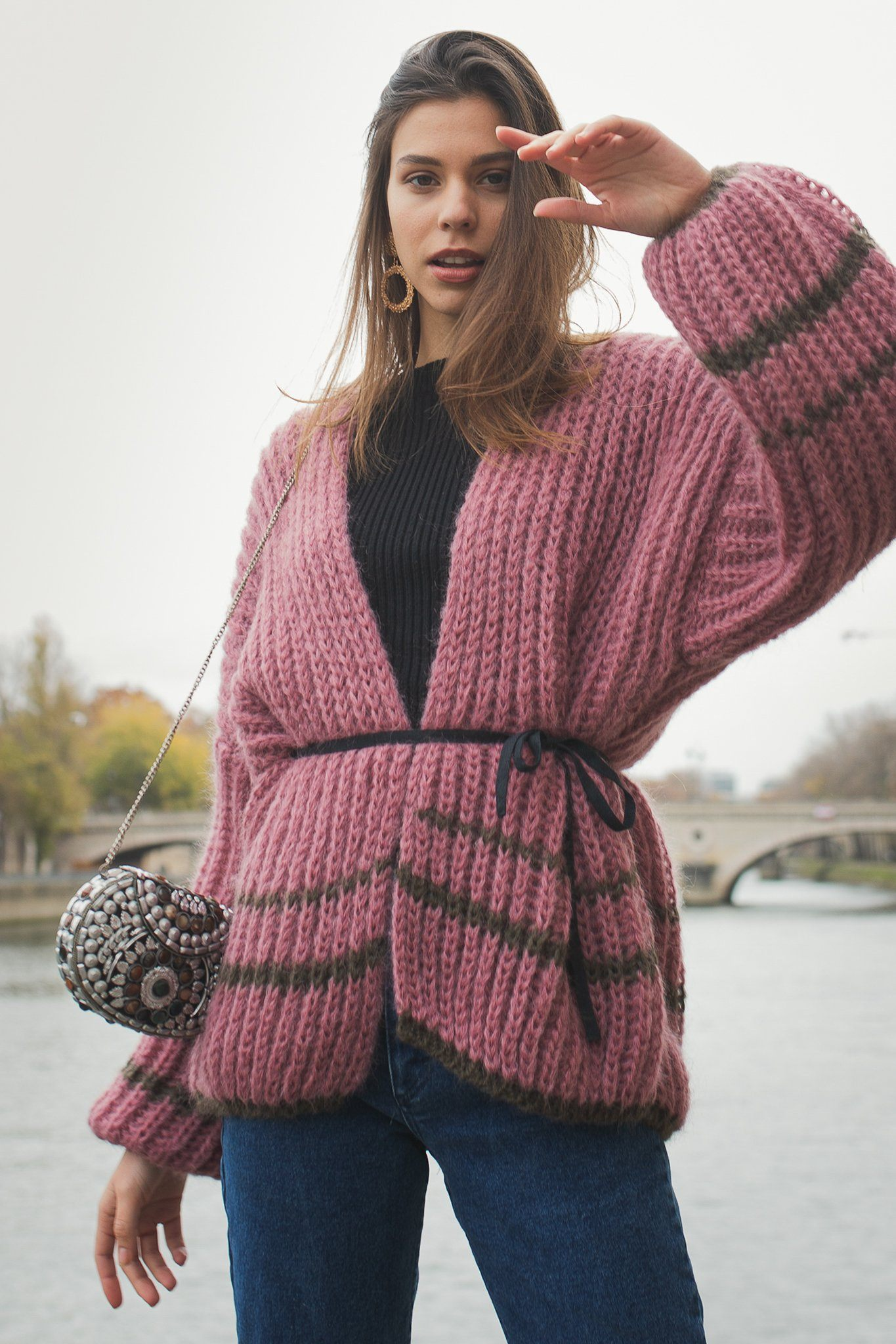 Bardo Cardigan - Pink & Brown
