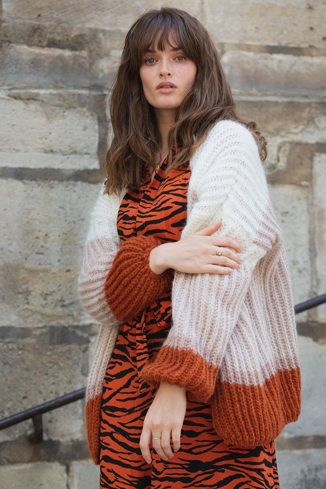 Linda Cardigan - Beige and Orange, [product_type]- Poppy Field the label