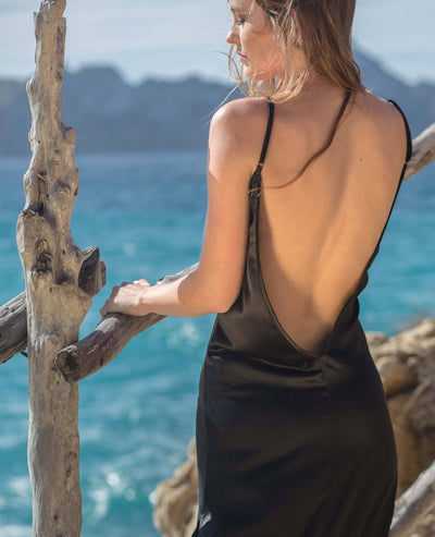 Lovina black Silk Dress - Poppyfield the Label