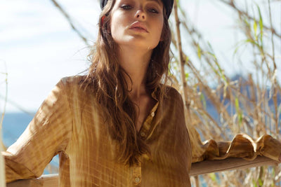 Poppy Field the label - Boho Silk Cable Shirt Golden