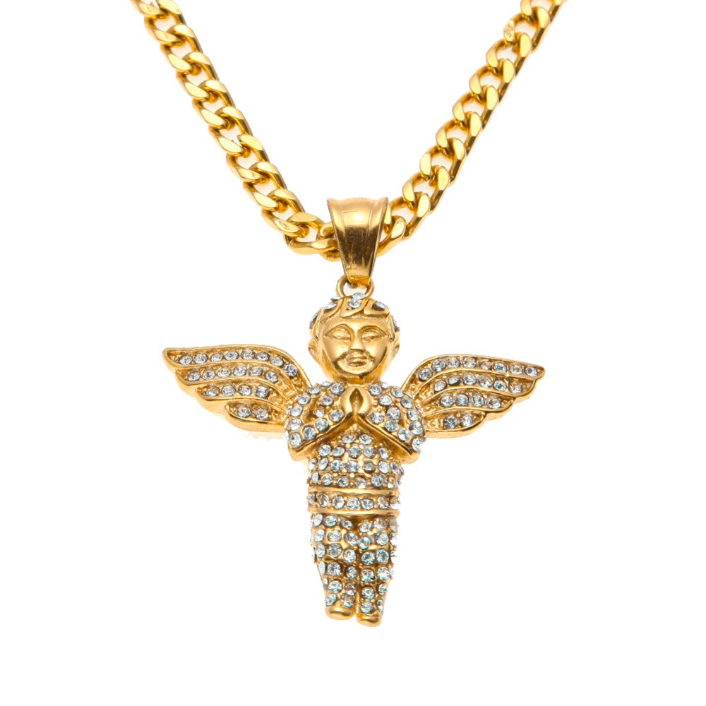 Angel pendant necklace high quality gold tone gold savage angel pendant necklace high quality gold tone aloadofball Image collections