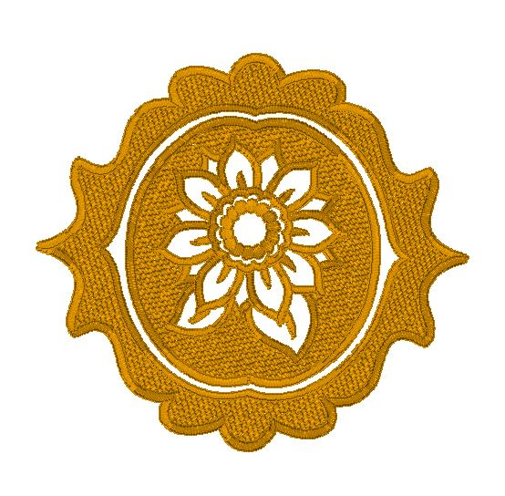 Sunflower medallion - embossed