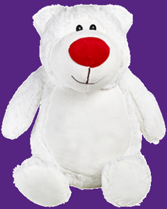 Waffles the White Bear with the big red nose