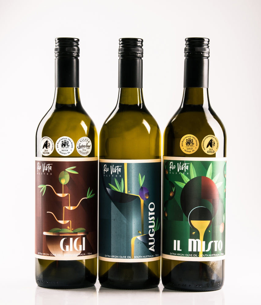 Rio Vista Olives Premium Vintage Range of Extra Virgin Olive Oil. South Australian Cold Pressed EVOO Gigi Augusto il Misto