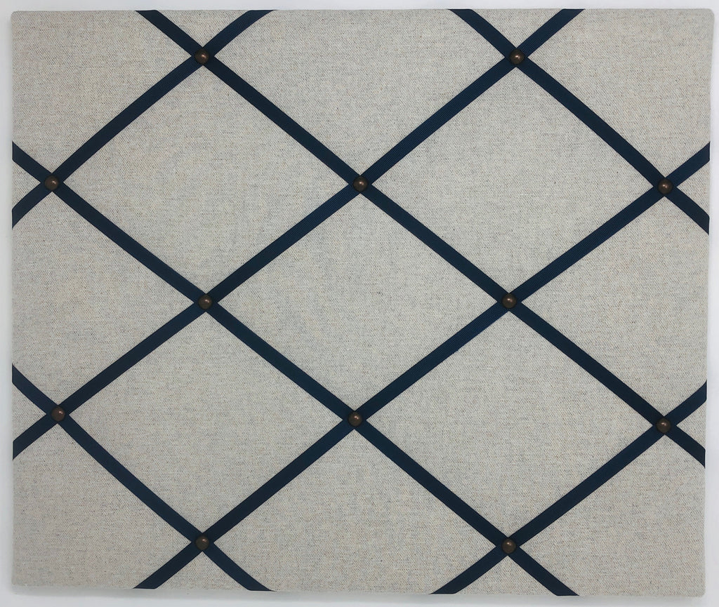 Soft Grey / Navy Ribbon Memo Board