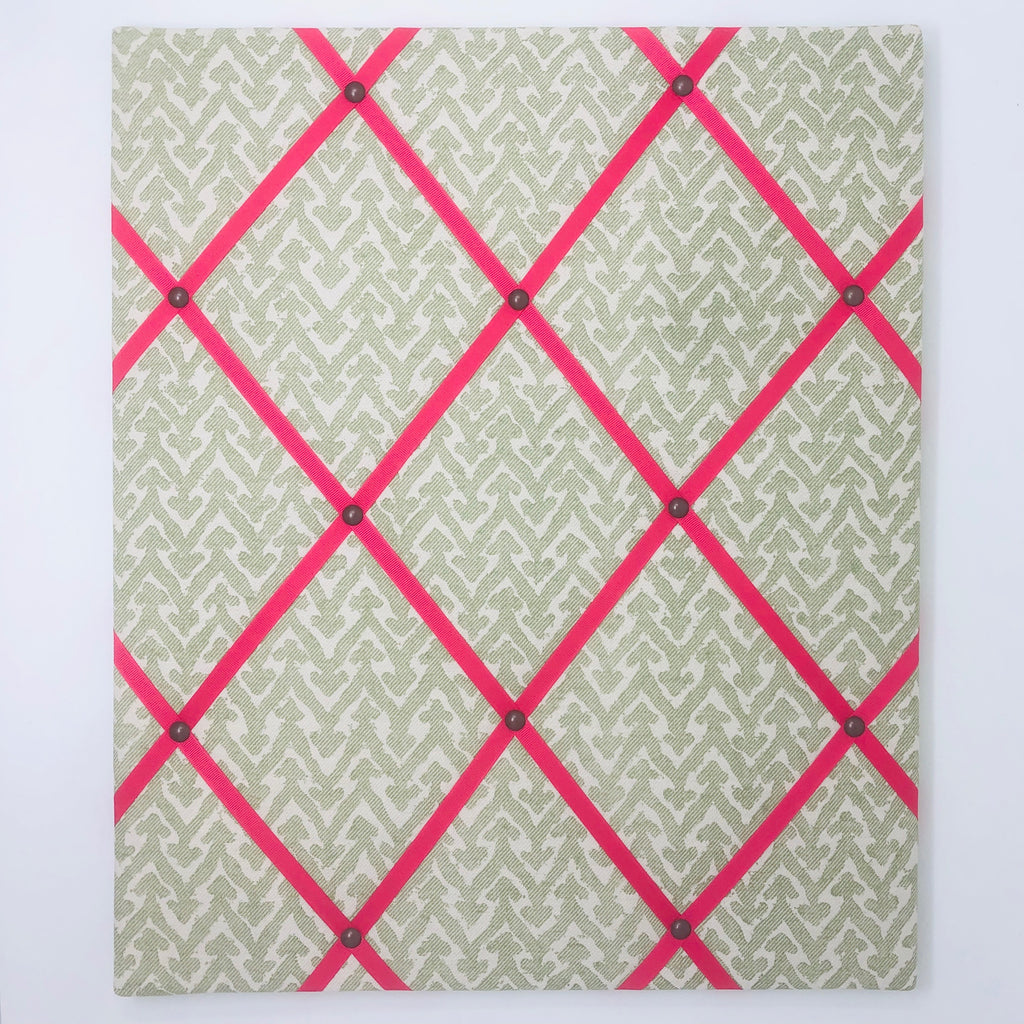 Fermoie Green Rabanna Ribbon Memo Board / Bright Pink Ribbon