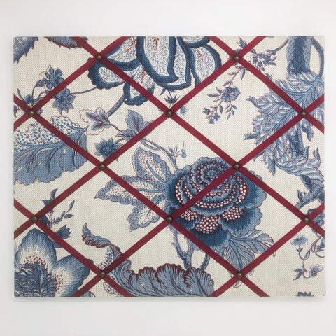 Blue Floral Ribbon Memo Board / Burgundy Ribbon