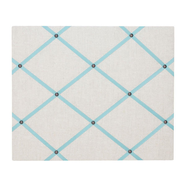 Natural Linen / Duck Egg Blue Ribbon Memo Board