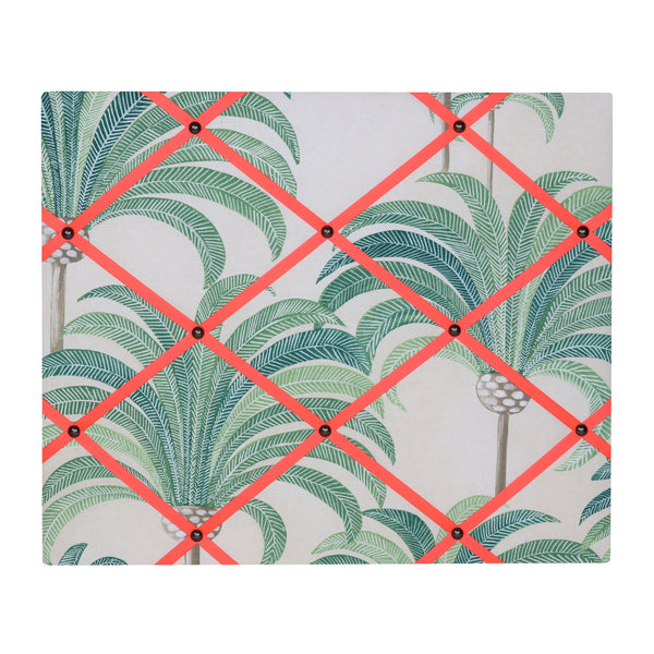 Large Palm Print / Neon Orange Ribbon Memo Board