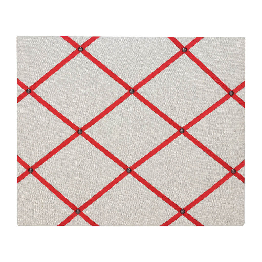 Natural Linen / Red Ribbon Memo Board