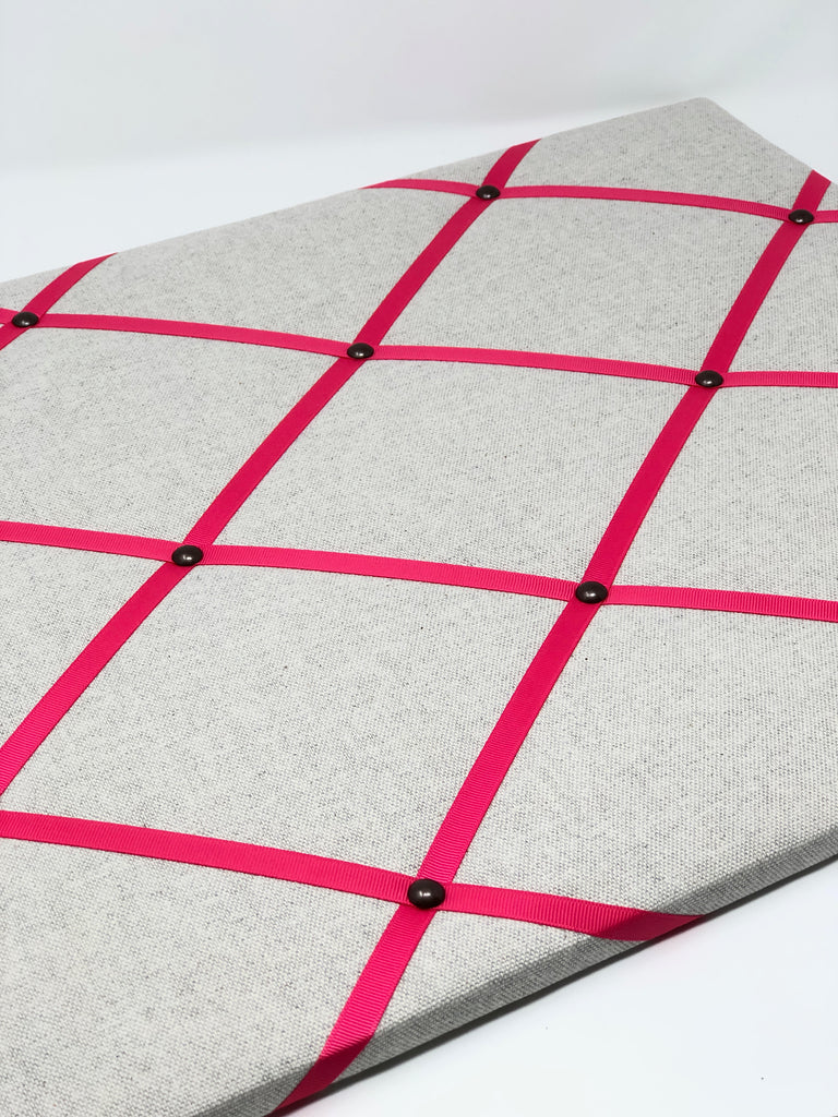 Soft Grey / Bright Pink Ribbon Memo Board