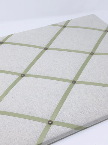 Soft Grey / Soft Green Ribbon Memo Board
