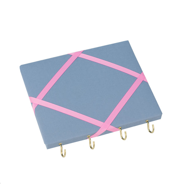 Blue / Pale Pink Ribbon Jewellery Holder