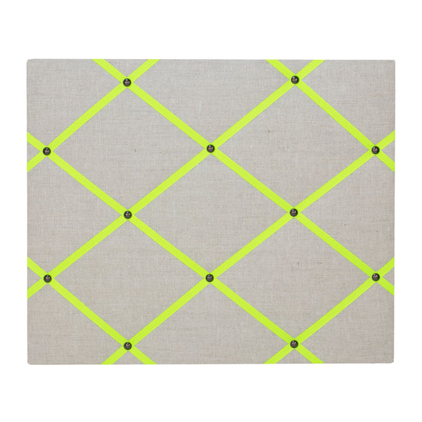 Natural Linen / Neon Yellow Ribbon Memo Board