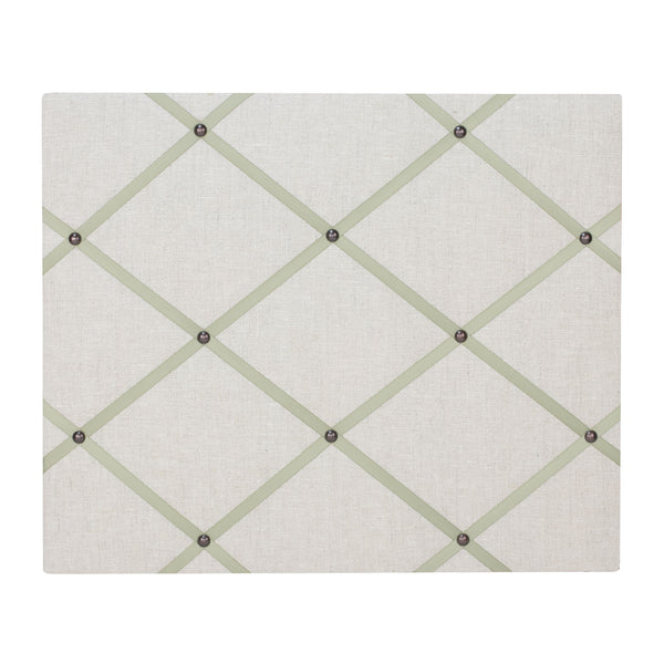 Natural Linen / Green Ribbon Memo Board