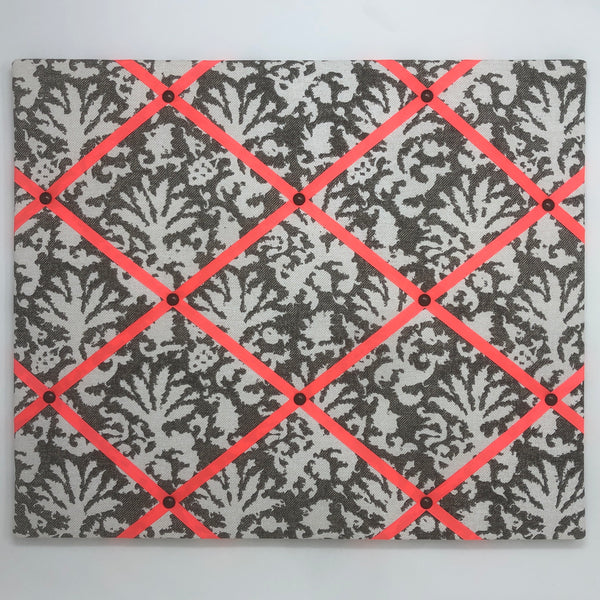 Fermoie Dark Grey/Brown Aylsham Ribbon Memo Board / Neon Orange Ribbon