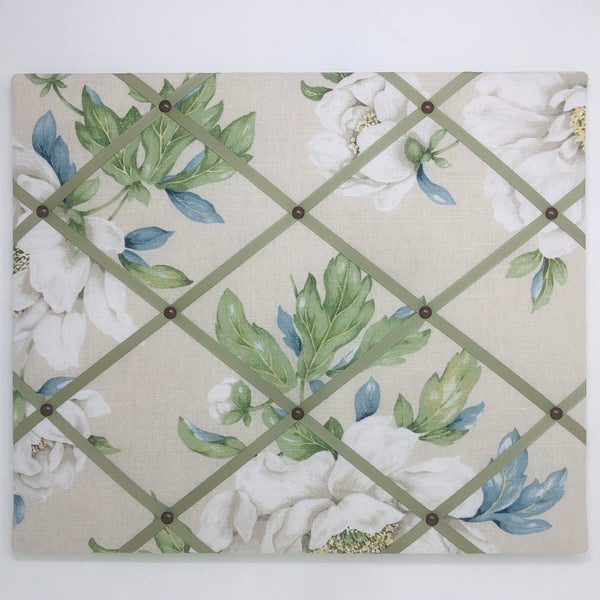 Peonies Ribbon Memo Board / Soft Green Ribbon