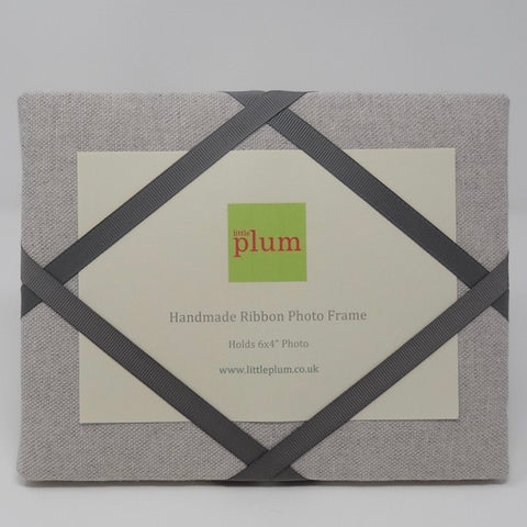 Freestanding Photo Frame - Soft Grey / Charcoal Ribbon