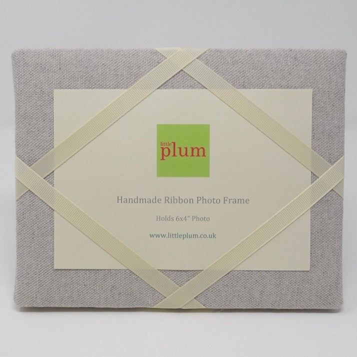 Freestanding Photo Frame - Soft Grey / Ivory Ribbon