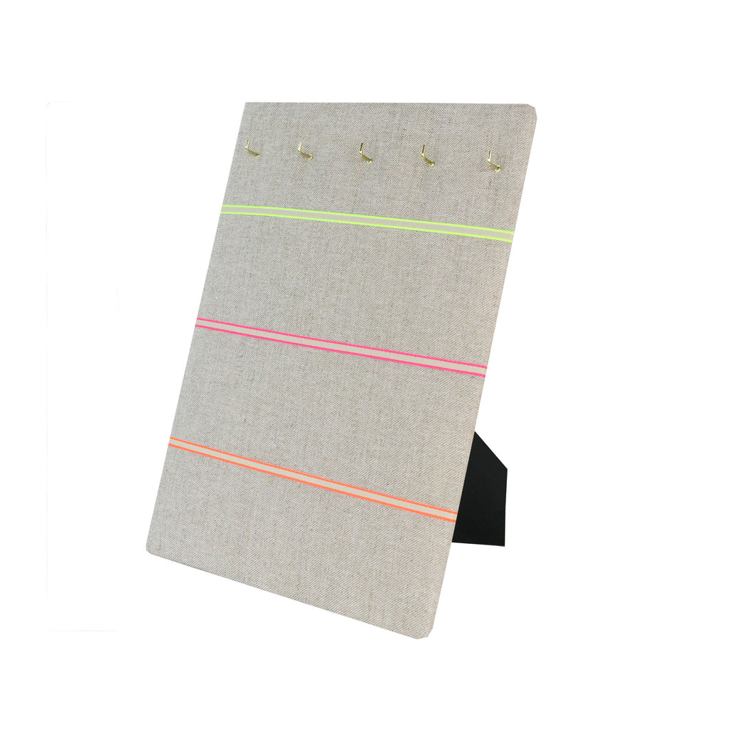 Hook & Hang Jewellery Board - Natural Linen / Neon Ribbon