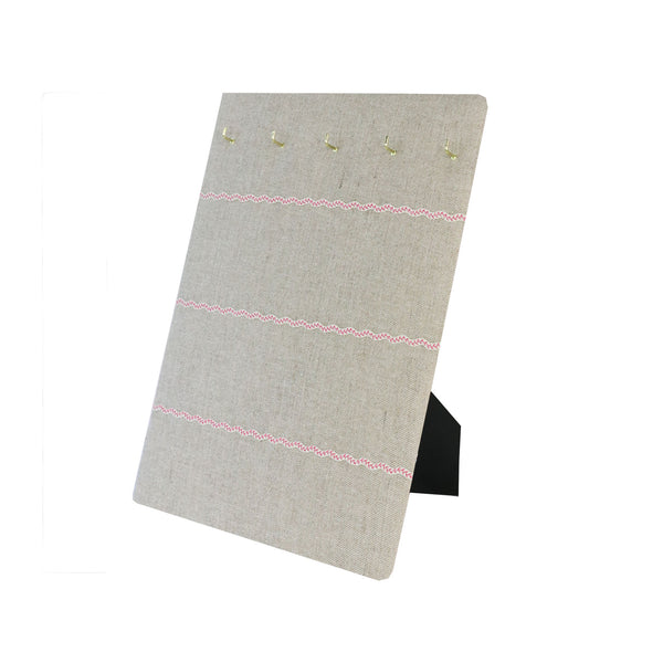 Hook & Hang Jewellery Board - Natural Linen / Pink ric rac