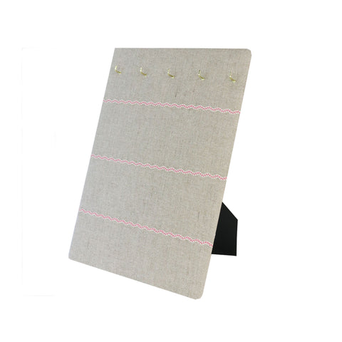 Hook & Hang Jewellery Board - Soft grey / Pink ric rac