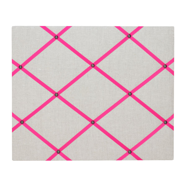 Natural Linen / Bright Pink Ribbon Memo Board