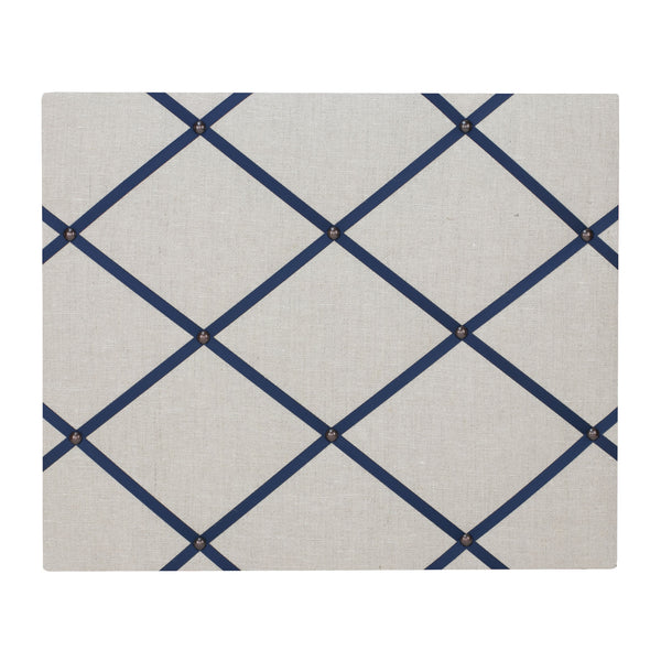 Natural Linen / Navy Blue Ribbon Memo Board