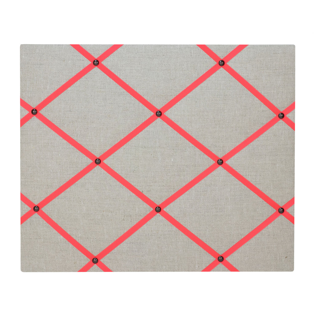 Natural Linen / Neon Orange Ribbon Memo Board