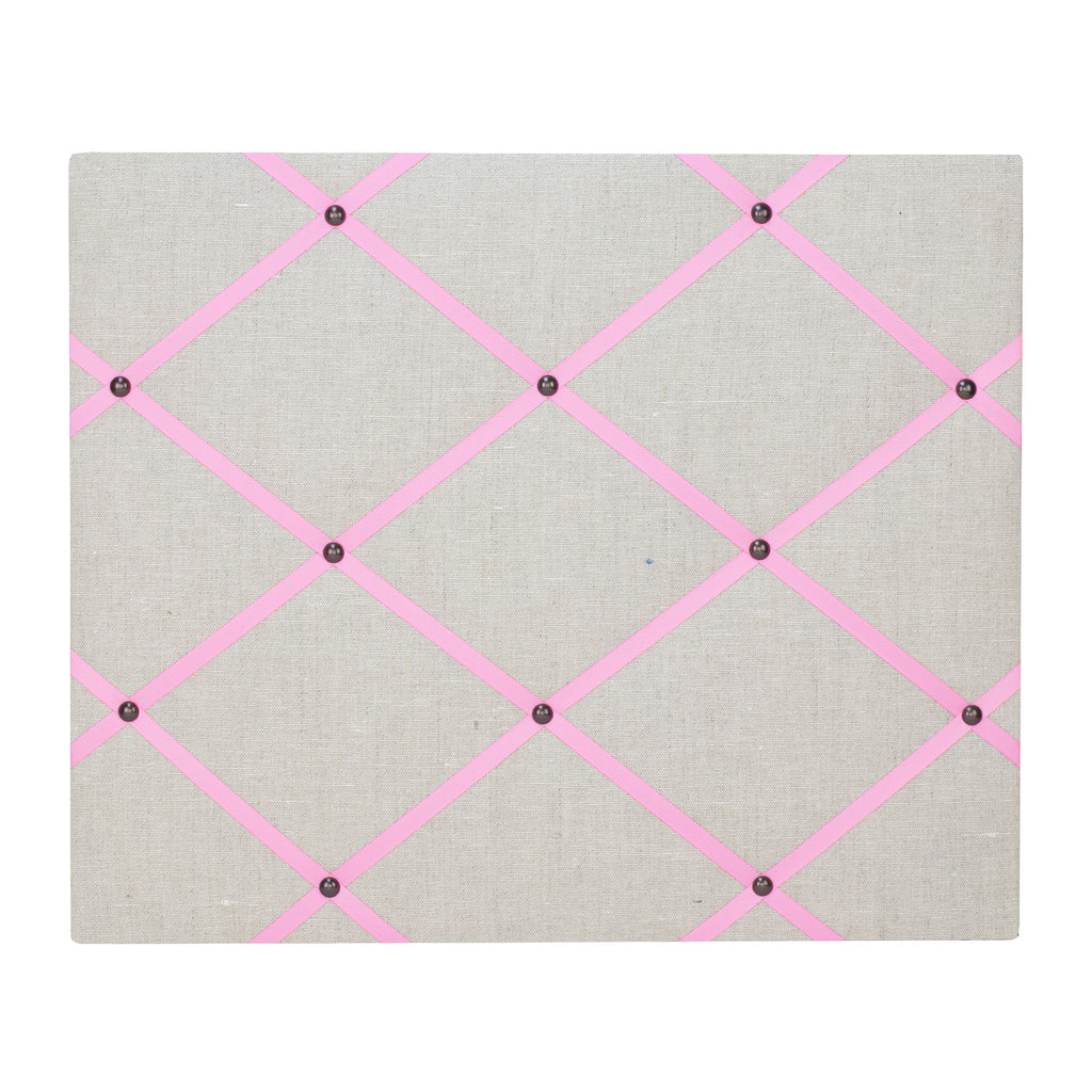 Natural Linen / Pale Pink Ribbon Memo Board
